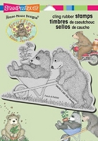 Stampendous Cling Mounted Rubber Stamp - House Mouse Designs - House Mouse Gruffies Wheel Bearrow