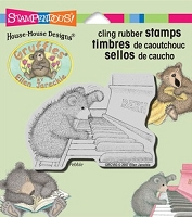 Stampendous Cling Mounted Rubber Stamp - House Mouse Gruffies Piano Player