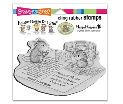 Stampendous Cling Mounted Rubber Stamps - House Mouse Designs - Postcard Mice Cling Rubber Stamp