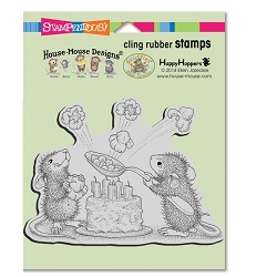 Stampendous Cling Mounted Rubber Stamps - House Mouse Designs - Popcorn Birthday Cling Rubber Stamp