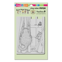 Stampendous Cling Mounted Rubber Stamps - House Mouse Designs - Curtain Cats Cling Rubber Stamp