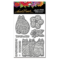 Stampendous - Laurel Burch - Feline Blooms Cling Rubber Stamp Set