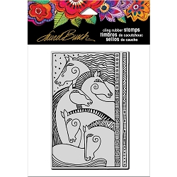 Stampendous - Laurel Burch - Cling Horse Friends Rubber Stamp