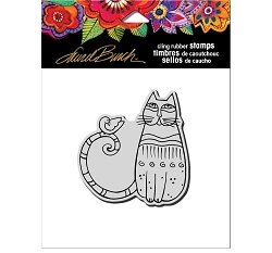 Stampendous - Laurel Burch - Cling Cat and Feathered Friend Rubber Stamp