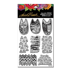 Stampendous - Laurel Burch - Tribal Cats Cling Rubber Stamp Set