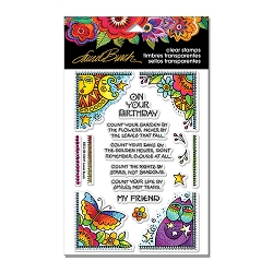 Stampendous - Laurel Burch - Birthday Corners Perfectly Clear Stamps