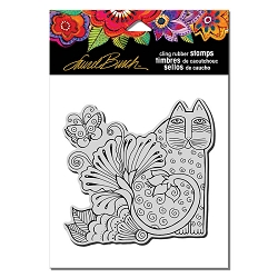 Stampendous - Laurel Burch - Cling Rubber Stamp Blossoming Feline