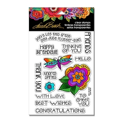 Stampendous - Laurel Burch - Floral Greetings Perfectly Clear Stamps Set
