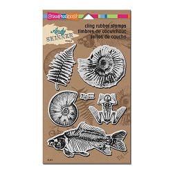 Stampendous - Cling Mounted Rubber Stamp - Andy Skinner Fossils Stamp Set