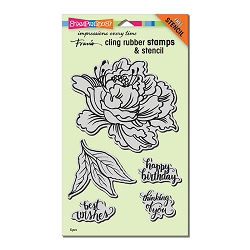 Stampendous Cling Mounted Rubber Stamps - Fresh Peony Stamp Set