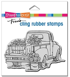 Stampendous - Cling Pup On Truck Rubber Stamp