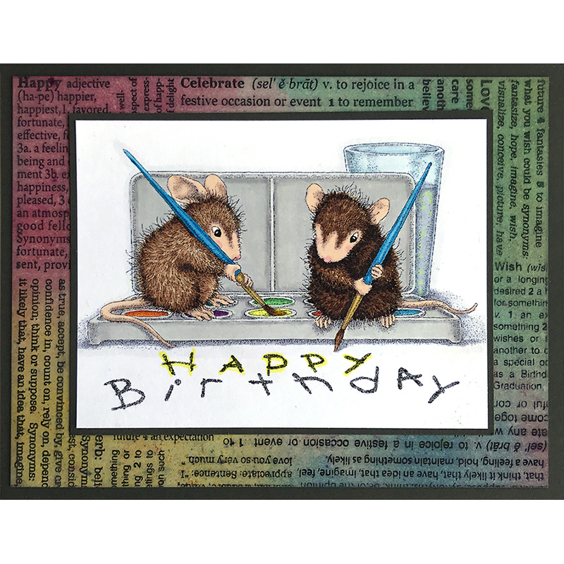 MAKE A WISH Stampendous cling mounted rubber stamp HOUSE MOUSE