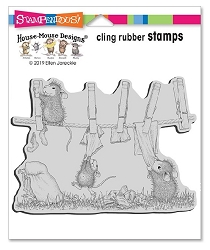 Stampendous - House Mouse Doing Laundry Cling Rubber Stamp