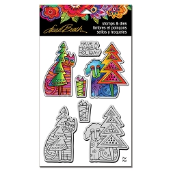 Stampendous - Laurel Burch Holiday Friends Cling Stamps and Dies Set