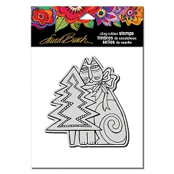 Stampendous - Laurel Burch - Cling Feline Christmas Rubber Stamp