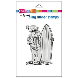 Stampendous - Cling Surfing Santa Rubber Stamp