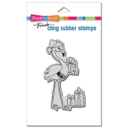 Stampendous - Cling Flamingo Santa Rubber Stamp