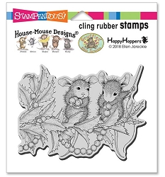 Stampendous - Cling House Mouse Stringing Berries Rubber Stamp