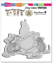 Stampendous - Cling House Mouse Sharing A Sip Rubber Stamp