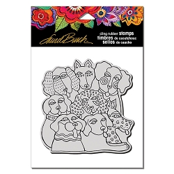 Stampendous - Laurel Burch Cling Canine Clan Rubber Stamp