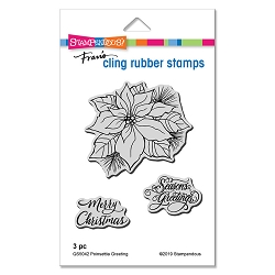Stampendous - Poinsettia Greetings Cling Rubber Stamp Set