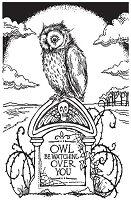 Stampendous - Cling Mounted Rubber Stamp - Tombstone Owl