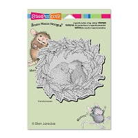 Stampendous Cling Mounted Rubber Stamps - House Mouse Wreath Kiss