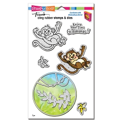Stampendous - Monkey Cling Rubber Stamps and Cutting Dies Set