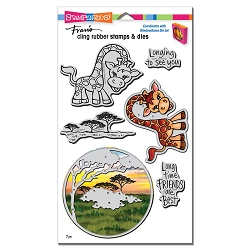 Stampendous - Giraffe Cling Rubber Stamps and Cutting Dies Set