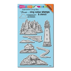 Stampendous Cling Mounted Rubber Stamps - Build A Lighthouse Stamp Set