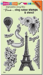 Stampendous Cling Mounted Rubber Stamps - Paris Bonjour Stamp Set