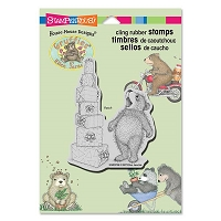 Stampendous - Cling Mounted Rubber Stamp - House Mouse Gruffies Stacked Gifts