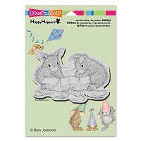 Stampendous - Cling Mounted Rubber Stamp - House Mouse Happy Hopper Opening Gifts