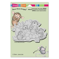 Stampendous - Cling Mounted Rubber Stamp - House Mouse Grape Snack