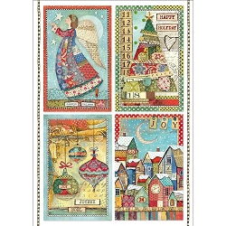 Stamperia - Make A Wish Patchwork Postcards Rice Paper