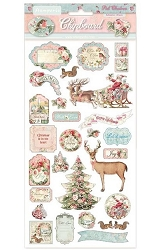 Stamperia - Pink Christmas 6x12 Chipboard Stickers