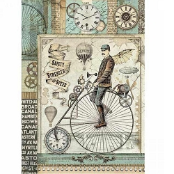 Stamperia - Voyages Fantastiques Retro Bicycle Rice Paper