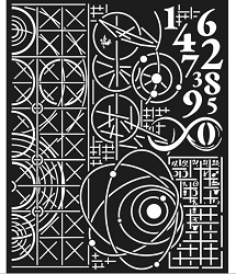 Stamperia - Cosmos Astronomy and Numbers Stencil (8x10)