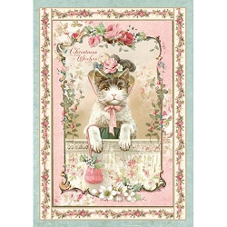 Stamperia - Pink Christmas - Kitten Rice Paper