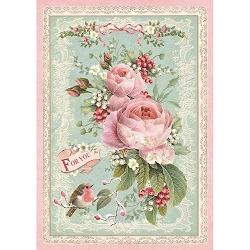 Stamperia - Pink Christmas - Rose Rice Paper