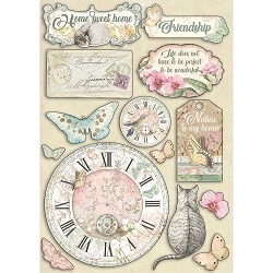 Stamperia - Orchids and Cats Clock & Labels Wood Shapes