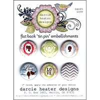Darcie's - Flat Back Tin Pin Embellishments - Love