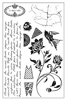Darcie's Cling Mounted Rubber Stamp Set - Ephemera Backgrounds
