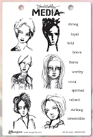 Ranger - Dina Wakley Media - Cling Mounted Rubber Stamp Set - All the Gals :)