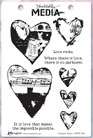 Ranger - Dina Wakley Media - Cling Mounted Rubber Stamp Set - Collaged Hearts