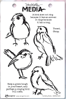 Ranger - Dina Wakley Media - Cling Mounted Rubber Stamp Set - Scribbly Birds