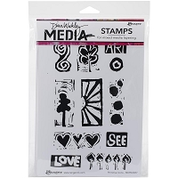 Ranger - Dina Wakley Media - Cling Mounted Rubber Stamp Set - Primitive Icons