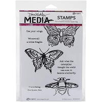 Ranger - Dina Wakley Media - Cling Mounted Rubber Stamp Set - Scribbly Insects