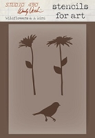 Stamper's Anonymous/Studio 490 - Stencils For Art by Wendy Vecchi - Wildflowers & A Bird