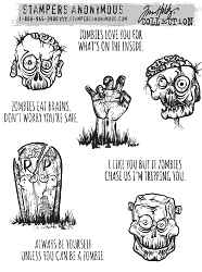 Stamper's Anonymous / Tim Holtz - Cling Mounted Rubber Stamp Set - Zombies